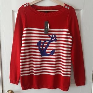 NWT Talbots Red Striped Anchor Sweater Size Medium